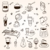 Hand drawn sketch doodle vintage simple coffee theme — Stock Vector