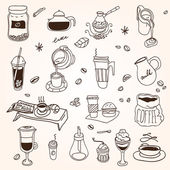Hand drawn sketch doodle vintage simple coffee theme — Vetor de Stock