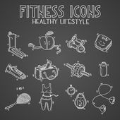 Hand drawn doodle sketch icons set fitness and sport concept healthy nutrition lifestyle, diet on blackboard or chalkboard — Stockvector