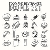 Food and beveranges morning breakfast lunch or dinner kitchen doodle hand drawn sketch rough simple icons coffee, tea, teapot, cupcake, jam other sweets — Stock Vector