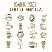 Cafe doodle set coffee and tea Morning breakfast lunch or dinner kitchen hand drawn sketch rough simple icons — Stock Vector