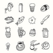 Morning breakfast lunch or dinner kitchen doodle hand drawn sketch rough simple icons — Stock Vector