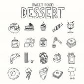Sweet food desert morning breakfast lunch or dinner kitchen doodle hand drawn sketch rough simple icons muffin, donut, cupcake, jam and other sweets — Stock Vector