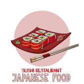 Japanese food cuisine roll sushi restaurant vector — Stock Vector