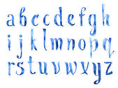 Hand drawn watercolour aquarelle Painted doodle letters handwritten with a brush blue watercolor alphabet abc font type — ストック写真