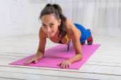 Fitness training athletic sporty woman doing plank exercise on a yoga mat in gym or home concept exercising workout aerobic — Stok fotoğraf