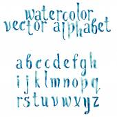 Colorful watercolor aquarelle font type handwritten hand drawn doodle abc alphabet letters vector — Vector de stock