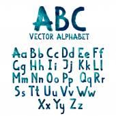 Bunte Aquarell Aquarelle Schriftart Typ handschriftliche handgezeichnete doodle Abc Alphabet Buchstaben groß- und Kleinbuchstaben Vektor — Stockvektor