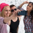 Two women and man friends taking selfie together wearing summer clothes  jeans shorts jeanswear street urban casual style having fun. — Stock Photo #71295709