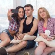 Two girls and guy friends taking selfie together wearing summer clothes  jeans shorts jeanswear street urban casual style having fun at home — Stock Photo #71296005