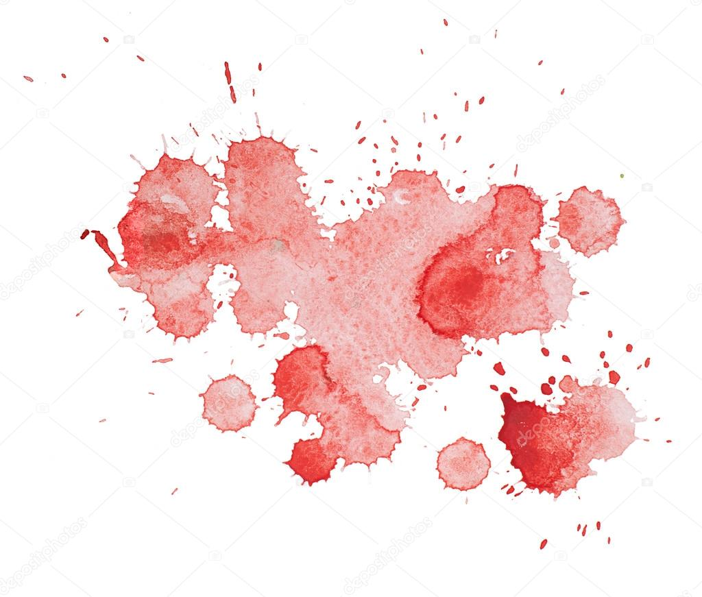 abstract watercolor aquarelle hand drawn colorful red art paint splatter stain on white. Black Bedroom Furniture Sets. Home Design Ideas