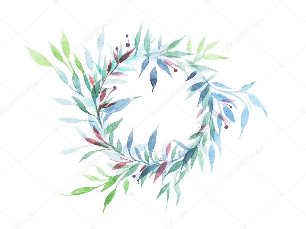 Vintage de cadre rond fleur floral vert feuilles Dessin ...