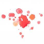 Оттянутое красное снижение руки акварели абстрактной акварели брызгает, искусство окраски подрисовывают белую второстепенную векторную иллюстрацию — Cтоковый вектор