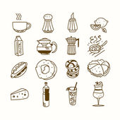 Food cafe set Morning breakfast lunch or dinner kitchen doodle hand drawn sketch rough simple icons coffee, tea, donut, teapot, cupcake, jam and other sweets — Stock Vector