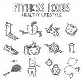 Hand drawn doodle sketch icons set fitness and sport concept healthy nutrition lifestyle, diet — Cтоковый вектор