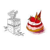Hand drawn confections dessert pastry bakery products pie cupcake muffin — Cтоковый вектор