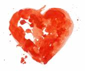 Watercolor aquarelle hand drawn colorful red heart art color paint or blood splatter stain. — Stock Photo