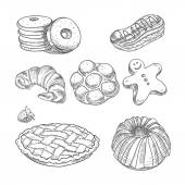 Hand drawn sketch confections dessert pastry bakery products donut, pie, croissant, cookie — Stock Vector