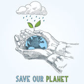 Earth globe in human hands planet protection care recycling save ecology concept — Stock vektor