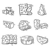 Hand drawn doodle sketch cheese with different types of cheeses in retro style stylized — Vetor de Stock