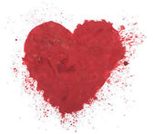 Hand drawn colorful red heart art color paint or blood splatter stain — Stock Photo