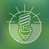 Energy saving spiral eco lamp fluorescent light bulb linear icon environmentally friendly planet Ecology Concept — Vector de stock