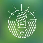 Energy saving spiral eco lamp fluorescent light bulb linear icon environmentally friendly planet Ecology Concept — Stock Vector