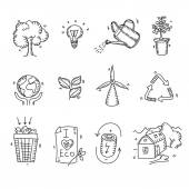 Hand drawn doodle sketch ecology organic icons eco and bio elements nature planet protection care recycling save concept — Stock Vector