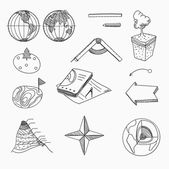 Geography lesson School objects and educational equipment Cartography topography Education linear hand drawn icons. — Stock Vector