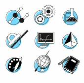 Science linear icons set school lessons disciplines — Stockvektor