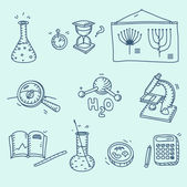 Science icons set school laboratory chemistry biology experiment investigation and observation hand drawn doodle sketch style — Stockvector