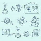 Science icons set school laboratory chemistry biology experiment investigation and observation hand drawn doodle sketch style — Vetor de Stock