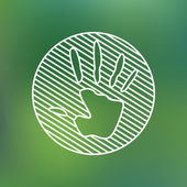 Hand print sign linear icon. Stop pollution environmental symbol. Planet protection care recycling save ecology concept — Stok Vektör