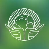 Earth globe in human hands planet protection care recycling save ecology concept linear icon — Stock vektor