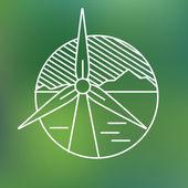 Wind turbine lineaire pictogram, eco genereren elektriciteit opslaan planeet concept. — Stockvector