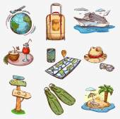 Hand drawn travel icons traveling on airplane, planning a summer vacation, tourism and journey. — Stock Vector