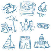 Hand drawn doodle sketch travel icons summer vacation on beach. — Stock Vector