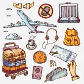 Airport and air travel icons concept traveling on airplane tourism journey passenger objects — ストックベクタ