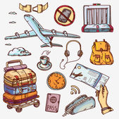 Airport and air travel icons concept traveling on airplane tourism journey passenger objects — Stock Vector