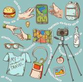 Travel and tourism icon things for travelling summer vacation. — ストックベクタ