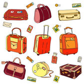 Collection of vintage travel suitcases with stickers — Stock Vector