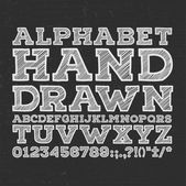 Chalk sketched striped alphabet abc vector font. Type letters, numbers, characters and punctuation marks — Stock Vector