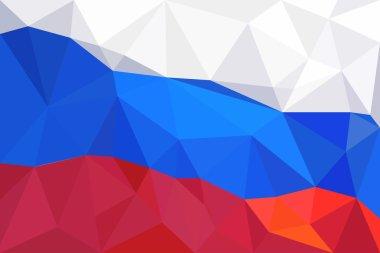 Abstract creative triangle geometrical mosaic Russian flag