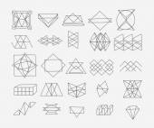 Set of geometric trendy hipster elements shapes and logotypes. Abstract polygonal label design. — Vecteur
