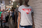 Sale Store, shopping mall abstract defocused blurred background. — Stock Photo