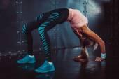 Bridge pose sporty woman doing fitness workout yoga stretching gymnastics exercise. — Stock Photo