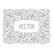 Hand drwan frame floral monogram — Stock Vector