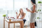 Two young woman colleague — Stock Photo