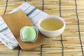 Daifuku of dessert Japanese and hot tea. — Stock Photo