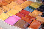 Leather purse colorful. — Stock Photo